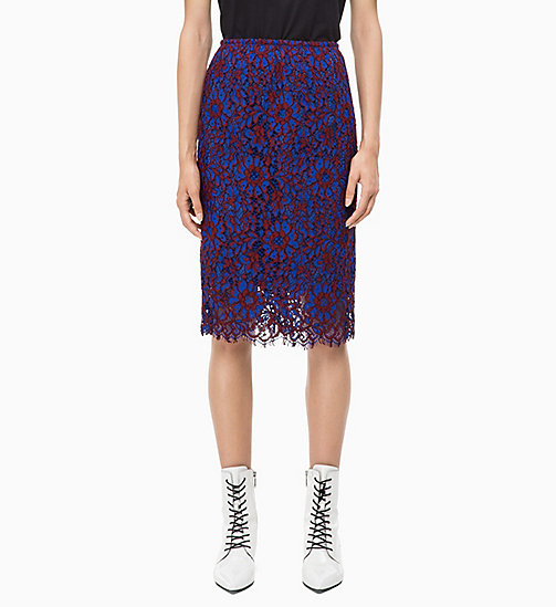 CALVIN KLEIN Lace Pencil Skirt - IRON RED / INDUSTRIAL BLUE LACE - CALVIN KLEIN CALVIN KLEIN WOMENSWEAR - main image