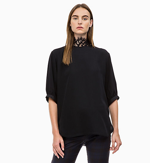 CALVIN KLEIN Lace Collar Blouse - PERFECT BLACK - CALVIN KLEIN CALVIN KLEIN WOMENSWEAR - main image