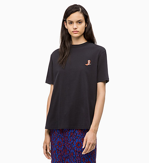 CALVIN KLEIN Western badge T-shirt - PERFECT BLACK - CALVIN KLEIN CALVIN KLEIN WOMENSWEAR - main image