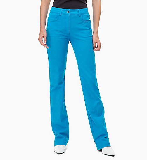 CALVIN KLEIN Cotton Stretch Bootcut Trousers - DEEP AZURE - CALVIN KLEIN CALVIN KLEIN WOMENSWEAR - main image