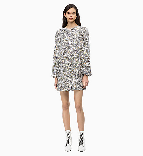 CALVIN KLEIN Printed Puff-Sleeve Dress - BLACK MINI FLORAL - CALVIN KLEIN CALVIN KLEIN WOMENSWEAR - main image