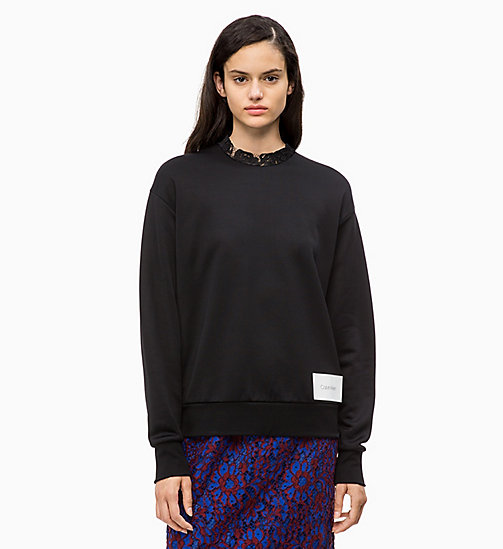 CALVIN KLEIN Lace Collar Sweatshirt - PERFECT BLACK - CALVIN KLEIN CALVIN KLEIN WOMENSWEAR - main image