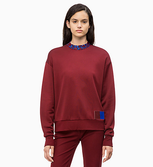 CALVIN KLEIN Felpa con colletto in pizzo - IRON RED - CALVIN KLEIN CALVIN KLEIN WOMENSWEAR - immagine principale
