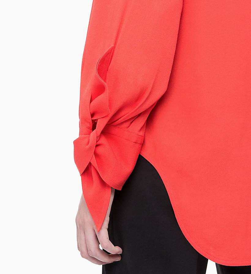 CALVIN KLEIN Draped Tie Cuff Blouse - PERFECT BLACK - CALVIN KLEIN WOMEN - detail image 2
