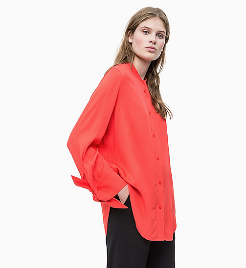 CALVIN KLEIN Draped Tie Cuff Blouse - CHERRY RED - CALVIN KLEIN NEW IN - main image