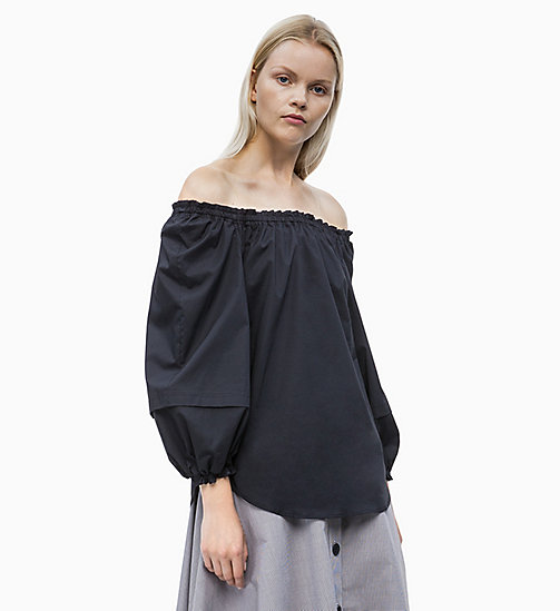 CALVIN KLEIN Cotton Poplin Off-Shoulder Blouse - PERFECT BLACK - CALVIN KLEIN NEW IN - main image
