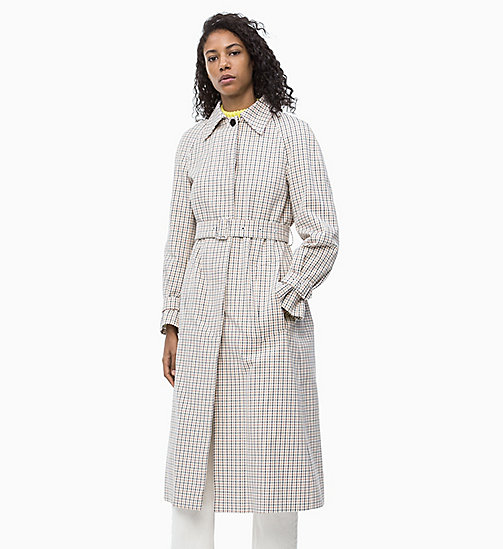 CALVIN KLEIN Check Belted Coat - WINDOW PANE CHECK - CALVIN KLEIN NEW IN - main image