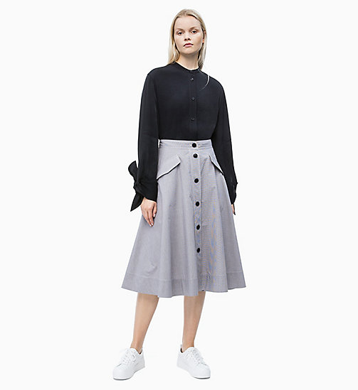 CALVIN KLEIN Gingham Check Buttoned Skirt - MINI GINGHAM - WHITE / CHOCOLATE - CALVIN KLEIN NEW IN - detail image 1