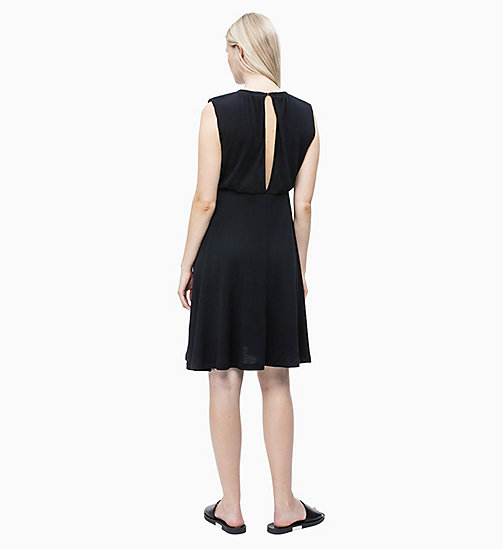 CALVIN KLEIN Cotton Jersey Ruched Dress - PERFECT BLACK - CALVIN KLEIN NEW IN - detail image 1
