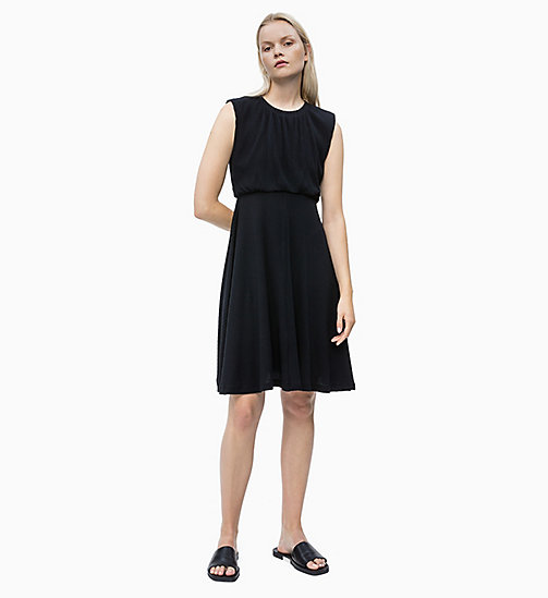 CALVIN KLEIN Cotton Jersey Ruched Dress - PERFECT BLACK - CALVIN KLEIN NEW IN - main image
