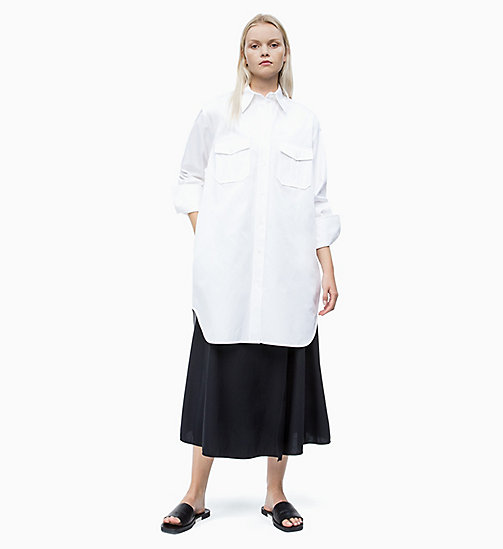 CALVIN KLEIN Cotton Twill Shirt Dress - BRIGHT WHITE - CALVIN KLEIN NEW IN - detail image 1