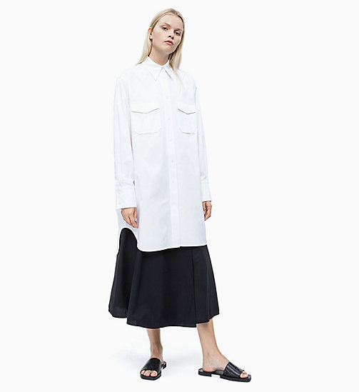 CALVIN KLEIN Cotton Twill Shirt Dress - BRIGHT WHITE - CALVIN KLEIN NEW IN - main image