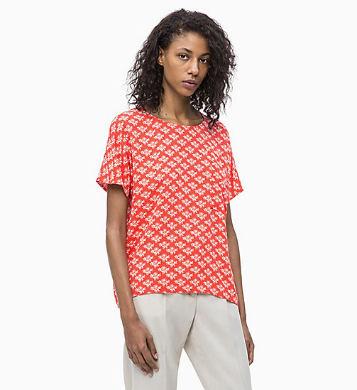 CALVIN KLEIN Printed Short-Sleeve Top - WALLFLOWER - RED - CALVIN KLEIN NEW IN - main image