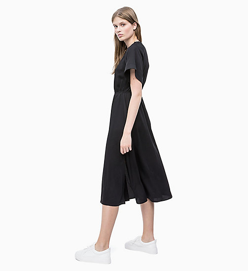 CALVIN KLEIN Crepe Midi Dress - PERFECT BLACK - CALVIN KLEIN NEW IN - detail image 1