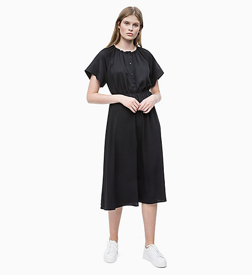CALVIN KLEIN Crepe Midi Dress - PERFECT BLACK - CALVIN KLEIN NEW IN - main image