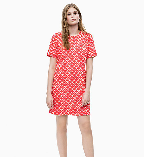 CALVIN KLEIN Printed Crepe Mini Dress - WALLFLOWER - RED - CALVIN KLEIN NEW IN - main image
