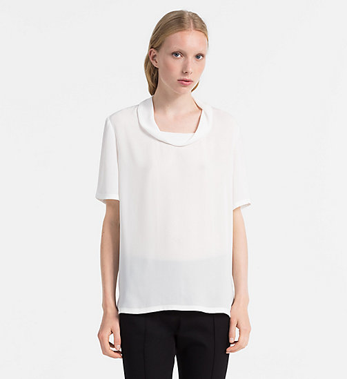 CALVINKLEIN Chiffonblouse met col - CHALK - CALVIN KLEIN TOPS - main image