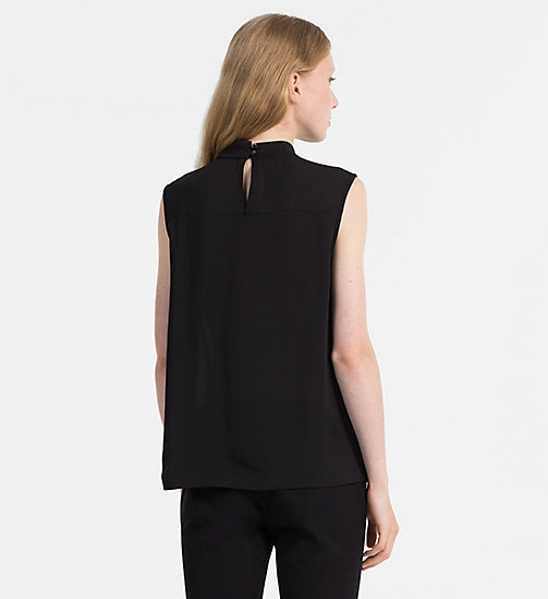 CALVINKLEIN Chiffon Twist Neck Top - BLACK - CALVIN KLEIN TOPS - detail image 1