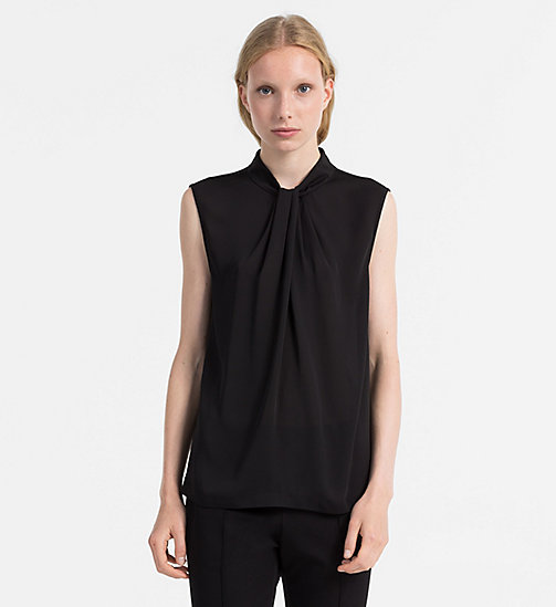 CALVINKLEIN Chiffon Twist Neck Top - BLACK - CALVIN KLEIN TOPS - main image