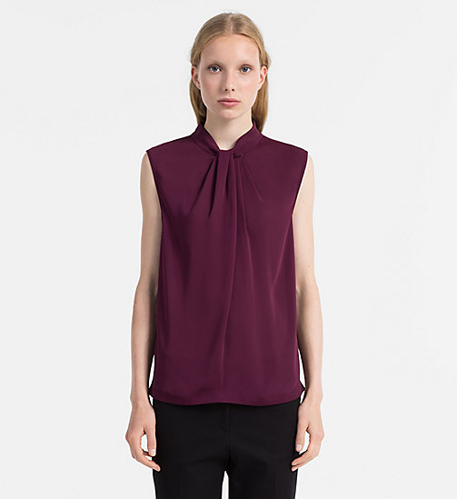 CALVINKLEIN Chiffon Twist Neck Top - WILDBERRY - CALVIN KLEIN TOPS - main image