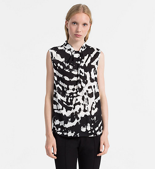 CALVINKLEIN Chiffon Twist Neck Top - B/W ANIMAL PRINT - CALVIN KLEIN TOPS - main image