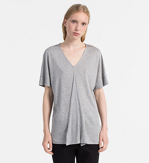 CALVINKLEIN Jersey Draped Front Top - GREY HEATHER - CALVIN KLEIN FEELING FESTIVE - main image