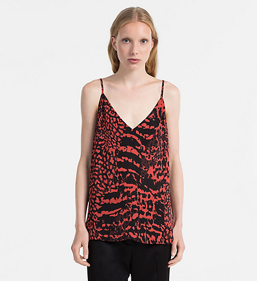 CALVINKLEIN Printed Chiffon Camisole - RED ANIMAL - CALVIN KLEIN TOPS - main image
