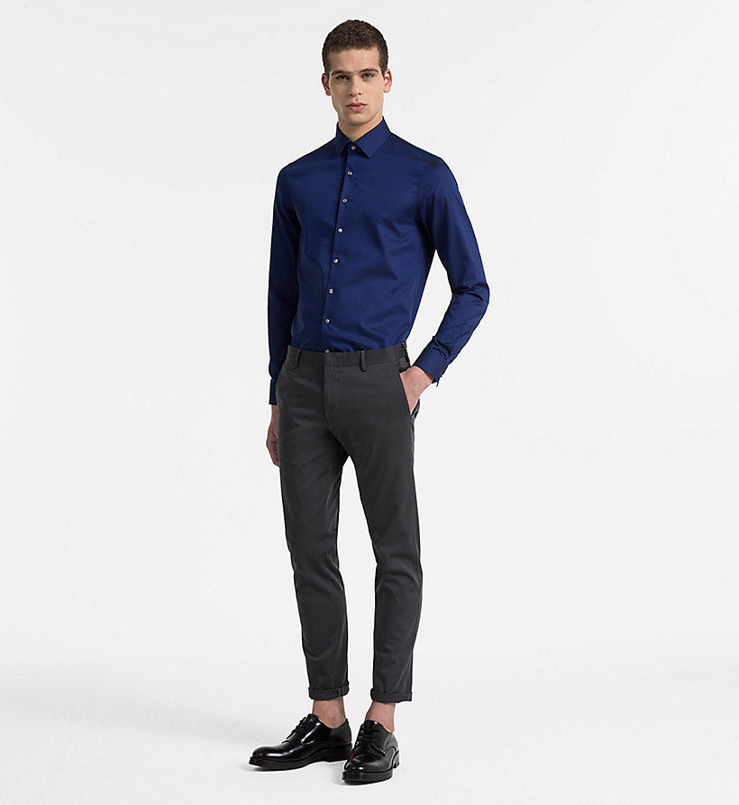 CALVINKLEIN Slim Dress Shirt - BLUE - CALVIN KLEIN MEN - detail image 1