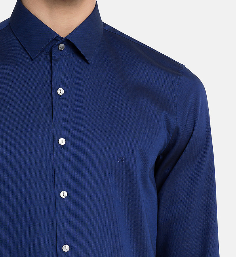 CALVINKLEIN Slim Dress Shirt - BLUE - CALVIN KLEIN MEN - detail image 3