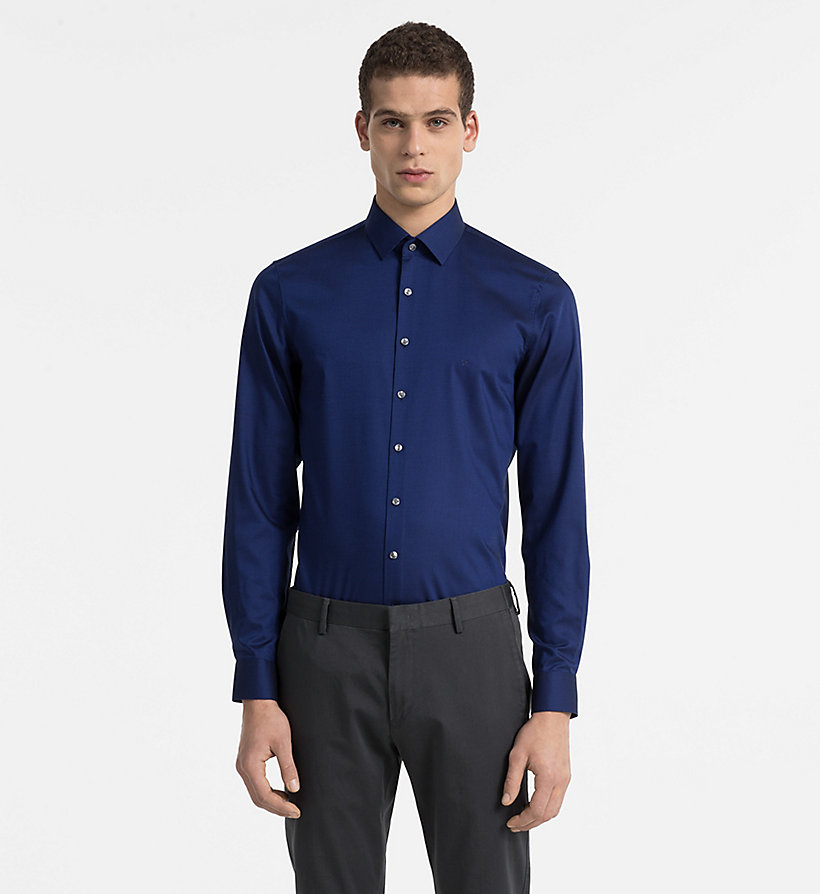 CALVINKLEIN Slim Dress Shirt - BLUE - CALVIN KLEIN MEN - main image