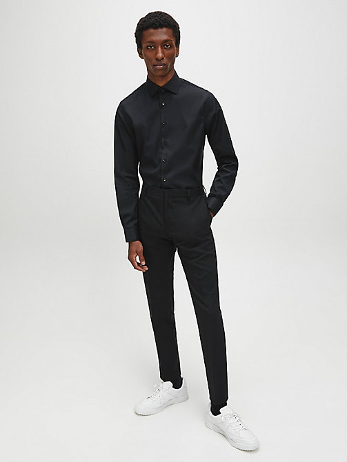CALVINKLEIN Fitted Dress Shirt - BLACK - CALVIN KLEIN SHIRTS - detail image 1