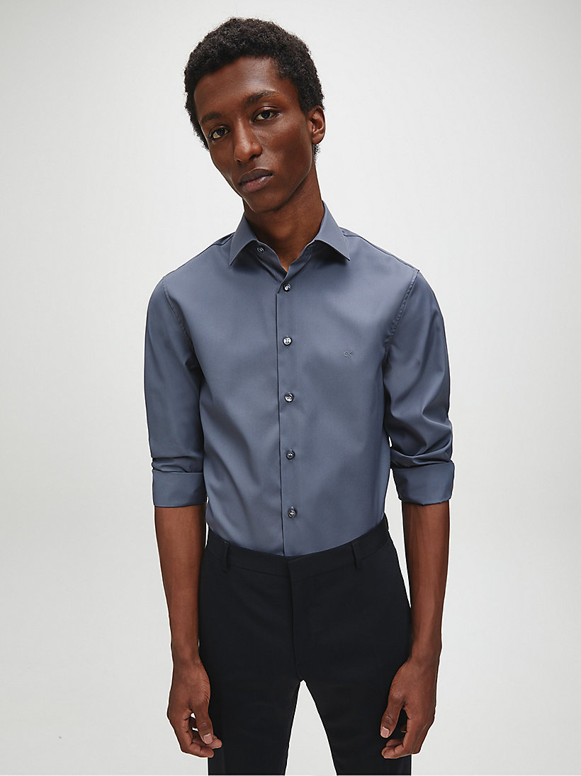 CALVIN KLEIN Fitted Dress Shirt - MIDNIGHT BLUE - CALVIN KLEIN MEN - detail image 2