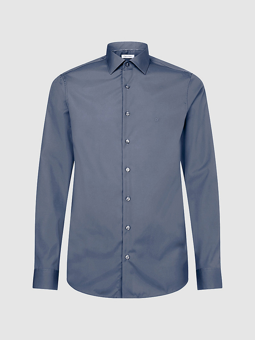 CALVIN KLEIN Fitted Dress Shirt - MIDNIGHT BLUE - CALVIN KLEIN MEN - main image