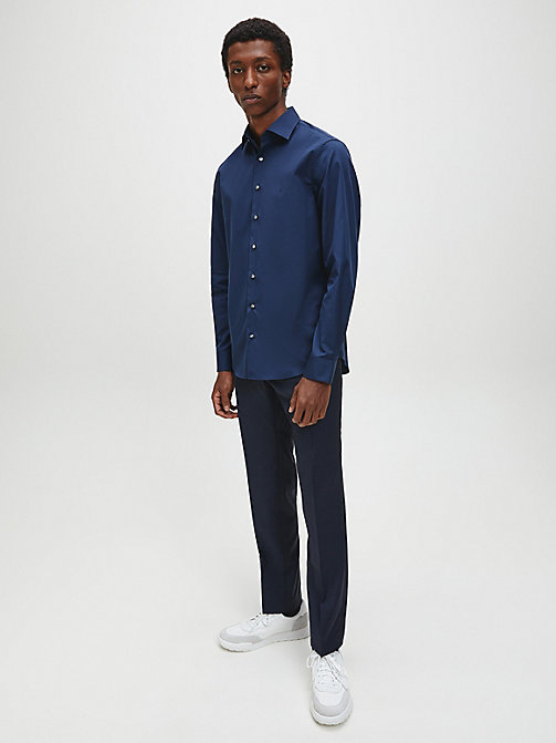CALVINKLEIN Fitted Dress Shirt - MIDNIGHT BLUE - CALVIN KLEIN SHIRTS - detail image 1