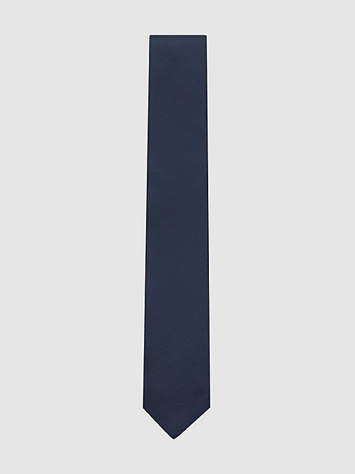 CALVIN KLEIN Slim Textured Silk Tie - MIDNIGHT - CALVIN KLEIN TIES - main image