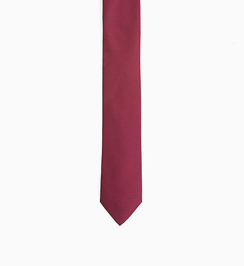 CALVINKLEIN Slim Textured Silk Tie - RED - CALVIN KLEIN TIES - main image
