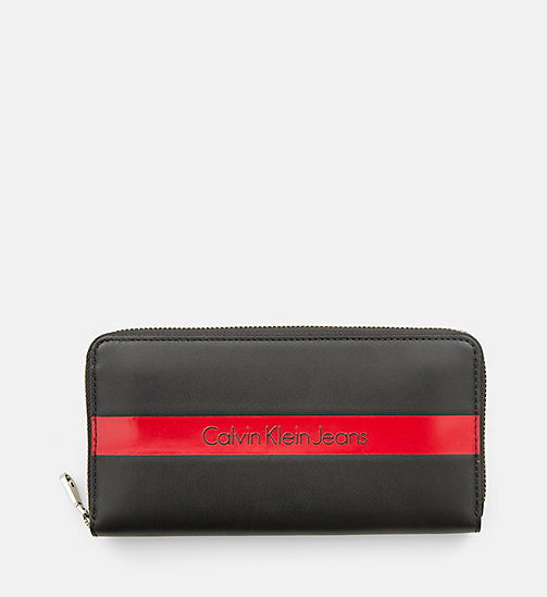CALVIN KLEIN JEANS Large Leather Zip-Around Wallet - BLACK/RED - CALVIN KLEIN JEANS SMALL ACCESSORIES - main image