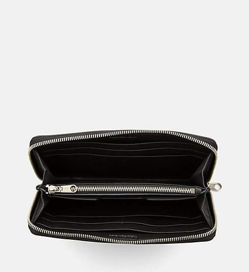 CALVIN KLEIN JEANS Large Leather Zip-Around Wallet - BLACK/BLACK - CALVIN KLEIN JEANS WALLETS & SMALL ACCESSORIES - detail image 1