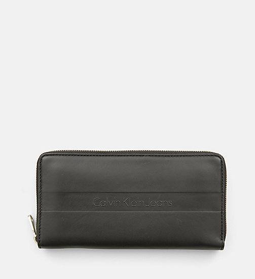 CALVIN KLEIN JEANS Large Leather Zip-Around Wallet - BLACK/BLACK - CALVIN KLEIN JEANS WALLETS & SMALL ACCESSORIES - main image