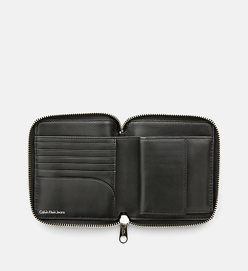 CALVIN KLEIN JEANS Leather Zip-Around Wallet - BLACK/RED - CALVIN KLEIN JEANS WALLETS & SMALL ACCESSORIES - detail image 1
