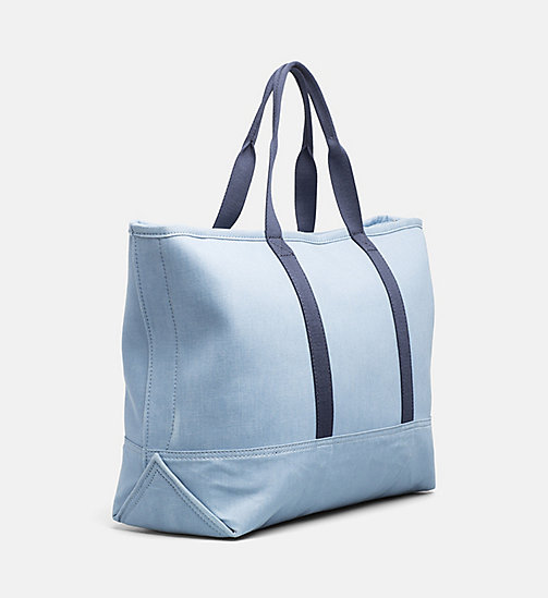CALVIN KLEIN JEANS Large Canvas Tote Bag - LIGHT NAVY - CALVIN KLEIN JEANS BAGS & ACCESSORIES - detail image 1