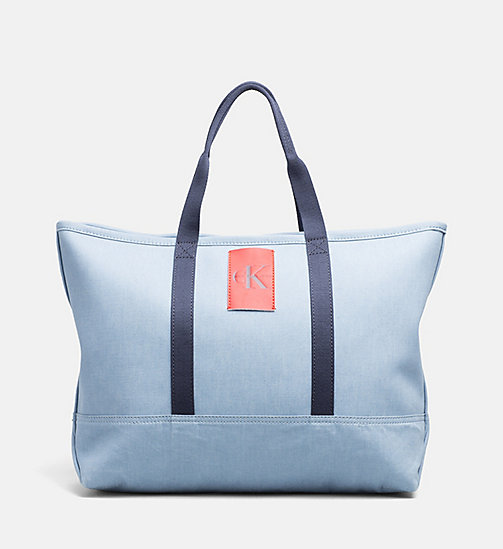 CALVIN KLEIN JEANS Large Canvas Tote Bag - LIGHT NAVY - CALVIN KLEIN JEANS BAGS & ACCESSORIES - main image