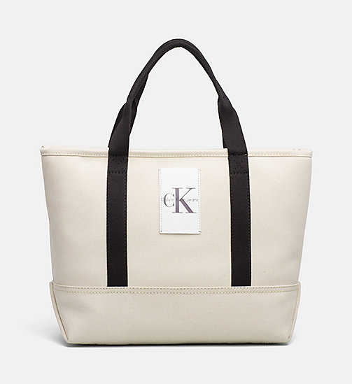 CALVIN KLEIN JEANS Medium Canvas Tote Bag - LIGHT CANVAS - CALVIN KLEIN JEANS ACCESSORIES - main image