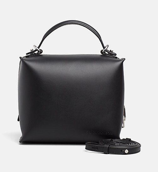 CALVIN KLEIN JEANS Small Leather Box Satchel - BLACK - CALVIN KLEIN JEANS SHOES & ACCESSORIES - main image