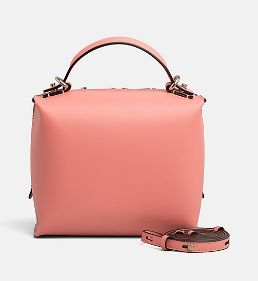 CALVIN KLEIN JEANS Small Leather Box Satchel - POP PINK - CALVIN KLEIN JEANS DUFFLE BAGS & SATCHELS - main image