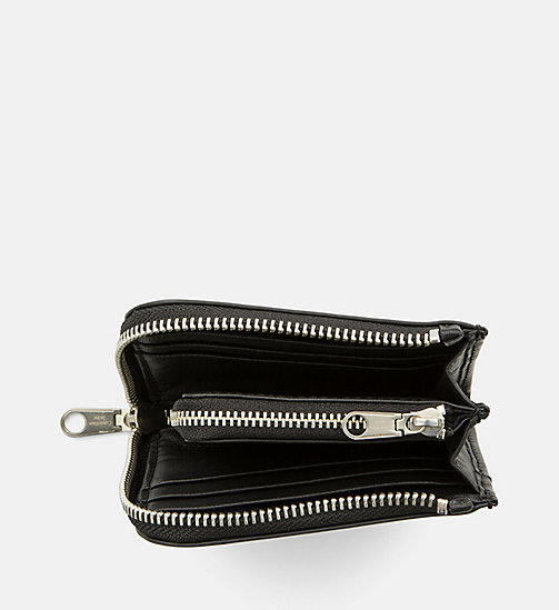 CALVIN KLEIN JEANS Leather Short Zip-Around Wallet - BLACK - CALVIN KLEIN JEANS WALLETS & SMALL ACCESSORIES - detail image 1