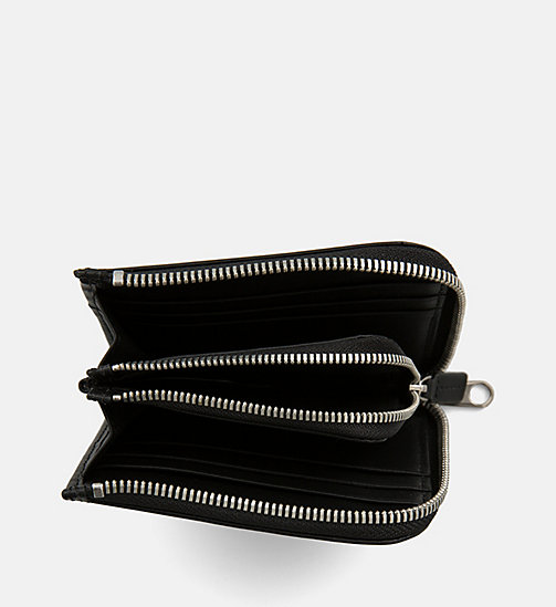 CALVIN KLEIN JEANS Leather Zip-Around Wallet - BLACK - CALVIN KLEIN JEANS BAGS & ACCESSORIES - detail image 1