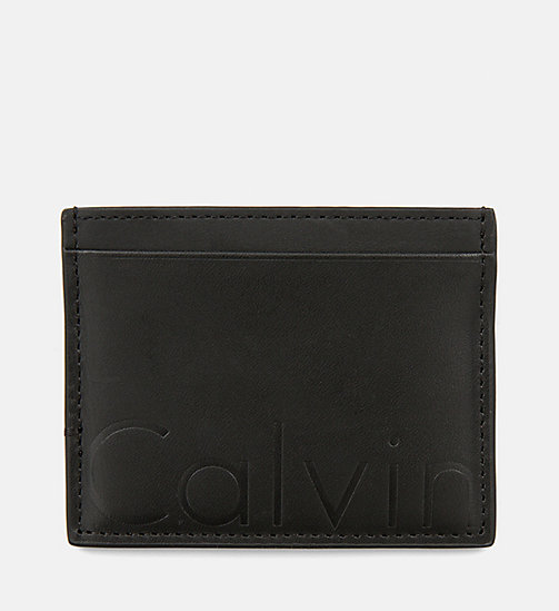 CALVIN KLEIN JEANS Leather Cardholder - BLACK - CALVIN KLEIN JEANS WALLETS - main image