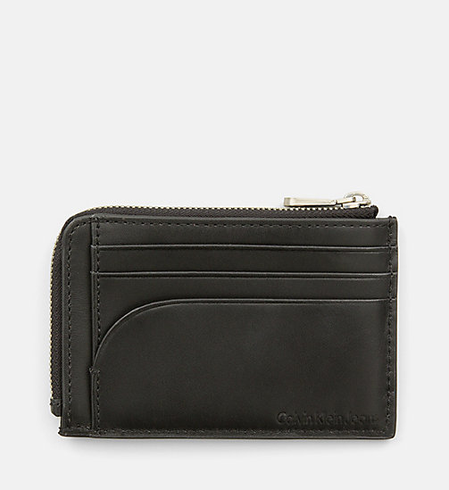 CALVIN KLEIN JEANS Leather Zip-Around Cardholder - BLACK - CALVIN KLEIN JEANS WALLETS - detail image 1