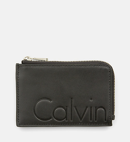CALVIN KLEIN JEANS Leather Zip-Around Cardholder - BLACK - CALVIN KLEIN JEANS GIFTS - main image